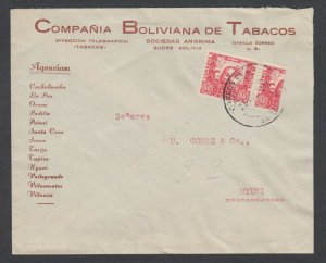 Bolivia Sc 261 + Bisect on 1944 cover Sucre to Uyuni, CDS ties bisect. Tobacco