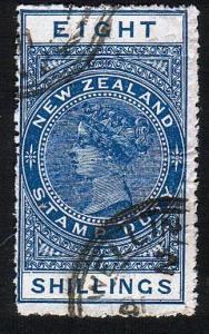 NEW ZEALAND 1880 Stamp Duty 8/- fine used..................................10514