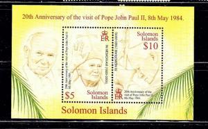 Solomon Is 1025 MNH 2005 overprint on Pope John Paul II S/S