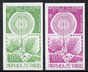New Caledonia 1975 'Arphila '75' Stamp Exhibition two dif...