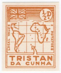(I.B) Tristan da Cunha Postal : Local Post ½d (Map)