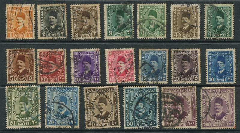 Egypt - Scott 128-147 -  Definitives Issue-1927 - FU - Set of 20 Stamps