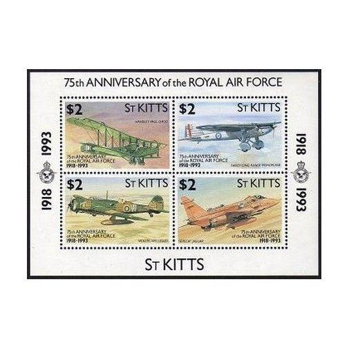 St Kitts 355 Feuille,Mnh.michel Bl.11. Royal Air Force 1993.Handley Fairey