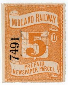 (I.B) Midland Railway : Prepaid Newspaper Parcel 5d (large format)