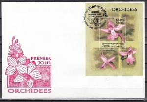 Cambodia, Scott cat. 1684. Orchids s/sheet on a First day cover.