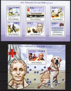 Mozambique. 2009. Small sheet 3427-32 bl283. dogs braille medicine. MNH.