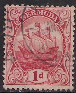 Bermuda 1922 - 34 KGV 1d Scarlet Sailing Ship SG 78 ( R1134 )