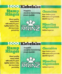 2 UNOPENED PACKS OF PRINZ STAMP HINGES 2000 FOLDED LOWEST PRICES ON EBAY