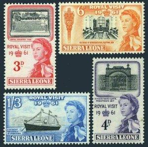 Sierra Leone 221-224,MNH.Michel 202-205. Royal Visit 1961,QE II.Yacht.