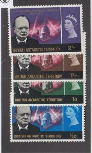 BR. ANTARCTIC TERRITORY (MK5566) # 16-19 VF-MLH  CHURCHILL MEMORIAL STAMP CV $46
