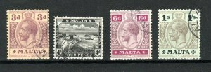 Malta 1914-21 values 3d to 1s FU CDS