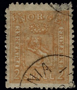 Norway #12 Used F-VF nibbed corner SCV$55...Chance to buy a Bargain!