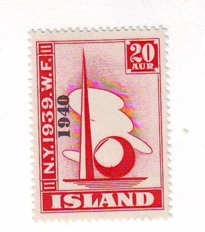 Iceland Sc232 1940 Worlds Fair stamp mint