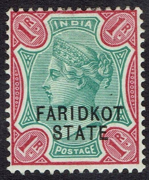 FARIDKOT 1887 QV 1R RED AND GREEN