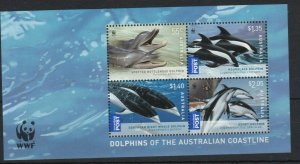 AD167) Australia 2009 WWF Dolphins & Whales Minisheet MUH