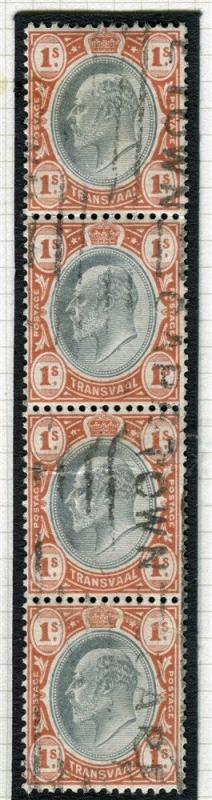 TRANSVAAL Interprovincial Period Ed VII CAPE TOWN Parcel Postmark on 1s. Strip