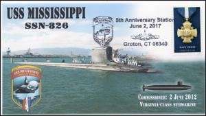 17-118, 2017, USS Mississippi, SSN-826, Submarine, Navy, Event Cover