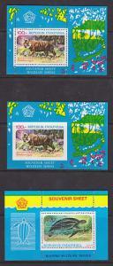 Indonesia Sc 1016a, 1016av, 1066a MNH. 1977-79, 3 S/S-s