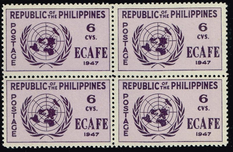 Philippines Stamp  1947 Conference Issue 6c MNH/OG stamp BLK OF 4