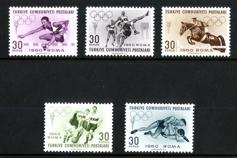 Turkey MNH 1488-92 Rome Olympic Games 1960 SCV 2.75