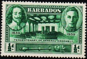 Barbados. 1939 1/2d S.G.257 Mounted Mint