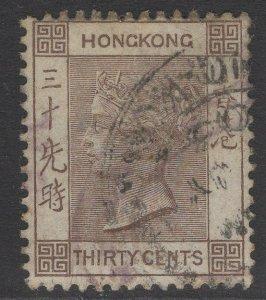 HONG KONG SG61 1901 30c BROWN USED