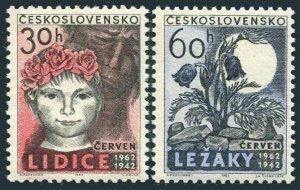 Czechoslovakia 1118-1119,MNH.Michel 1346-1347. Lidice,Lezaky destruction,20.1962