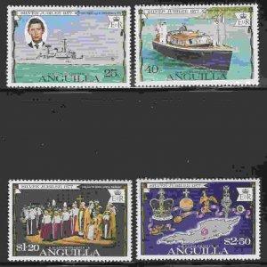 Anguilla #271-74 F-VF Mint NH ** QE II Anniversary, ship, map
