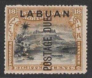 LABUAN : 1901 'Postage Due' on Mount Kinabalu 18c black & olive-bistre.