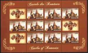 Romania. 2008. Small sheet 6315. Huniad Castle, coat of arms. MNH.