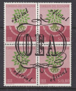ECUADOR  ^^^^SC#  719  better  MNH BLOCK of  4 ( OEA)   @ ha 2339ecua