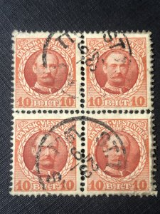 Danish West Indies Scott 44 used block of 4