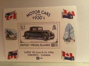 British Virgin Islands motor cars 1930's mint never hinged  sheet stamp R21803