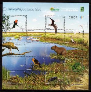 ENVIRONMENT RAMSAR WETLANDS FAUNA BIRD FROG SNAKE CRAB URUGUAY 2015 MNH SHEET