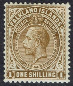 FALKLAND ISLANDS 1912 KGV 1/- WMK MULTI CROWN CA
