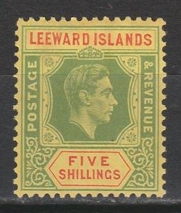 LEEWARD ISLANDS 1938 KGVI 5/-