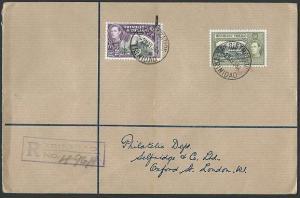 TRINIDAD 1938 GVI 12c & 24c on registered FDC..............................42550