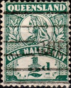 AUSTRALIA / QUEENSLAND 1899 - SG262 1/2d deep green p.12-1/2 - Very Fine Used