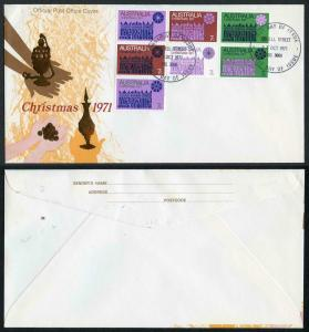 Australia SG498/504 1971 Christmas First Day Cover