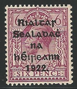 Ireland, 1922, Scott #17, 6p red violet, mint, H., V.F.