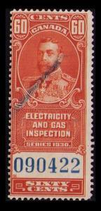 CANADA REVENUE TAX 1930, 60c #FEG2 FINE USED SCARCE ELECTRIC & GAS INSPECTION