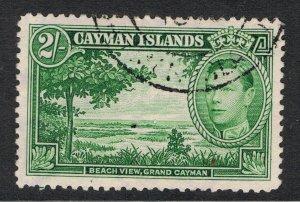 CAYMAN ISLANDS 1938 - 43 2/- GREEN BEACH VIEW