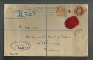 1913 London England Registered Letter Cover to Bank of Australia Red Wax Seal