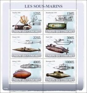 COMORES 2008 SHEET LES SOUS MARINS SUBMARINES SUBMARINOS NAUTILUS cm8108a