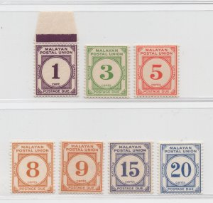 Malaya Malayan Postal Union - 1945 - SG D7-D13 - MNH