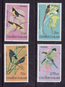 Thailand-Sc#727-30-Unused NH Bird set-1975-please note #730 has a pulled perf bo