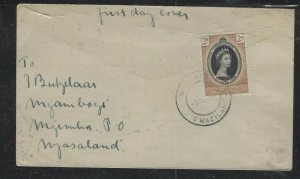 SWAZILAND COVER (PP2412B) 1953 QEII CORONATION FDC SENT TO NYASALAND