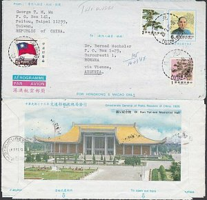 TAIWAN 1987 uprated aerogramme commercially used to Romania.................L407