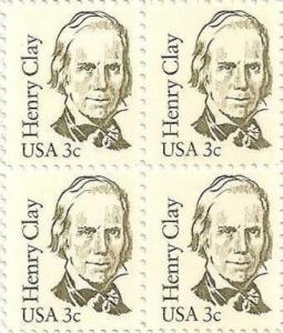 US 1846 Great Americans Henry Clay 3c block (4 stamps) MNH 1983