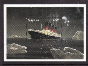 Guyana-Sc#3308-unused NH sheet-Ships-Titanic sinking-1998-